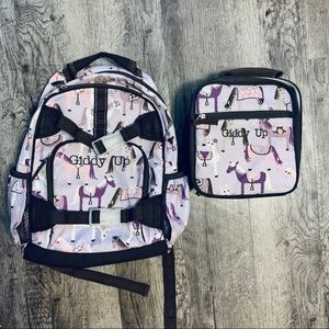 Horse Print Backpack Embroidered W/Lunchbox